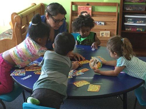 Ramona Ruacho teaching in her home