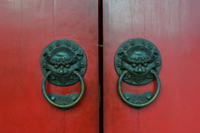 Chinese door with symbolic guardian dragons